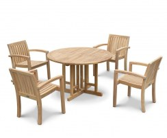 Berrington Drop Leaf Table 1.5m and 4 Monaco Stacking Chairs