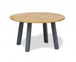 Disk 1.3m Round Teak and Metal Garden Table