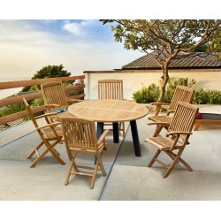 Disk Teak and Steel Round Table 1.3m & 6 Bali Folding Chairs