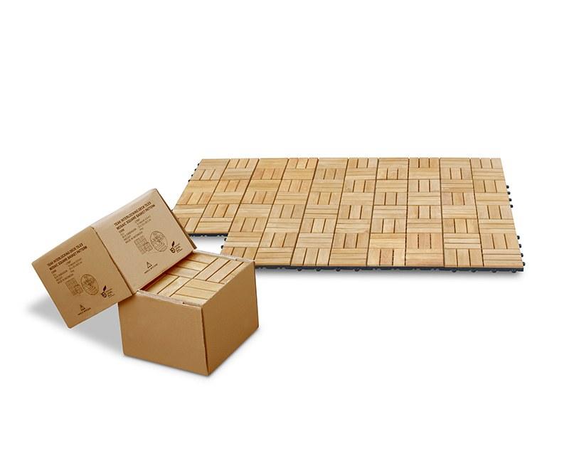 Set of 10 Teak Interlocking Deck Tiles - Mosaic Square Basket Pattern