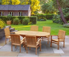 Bali Bijou Teak Extending Garden Dining Set with 6 Stacking Chairs
