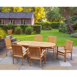Bali Bijou Teak Extending Garden Dining Set with 6 Stacking Chairs