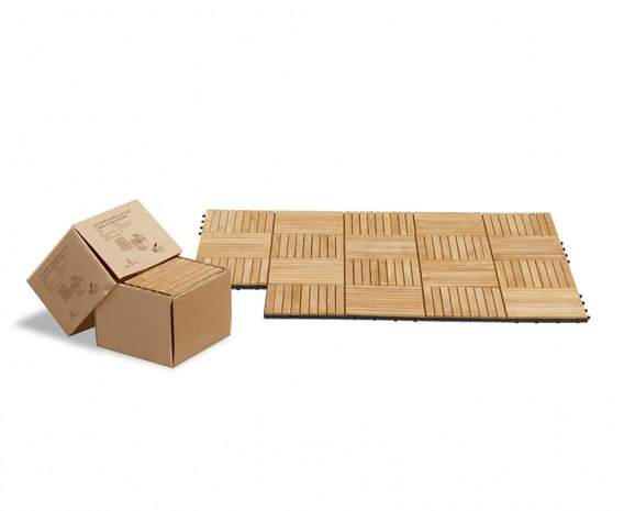 Set of 10 Teak Interlocking Deck Tiles - Classic Parquet Pattern