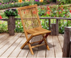 Chester Teak Low-Back Folding Garden Chair