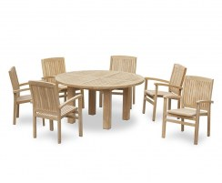 Titan 6 Seater Round Table 1.5m & Bali Stacking Armchairs