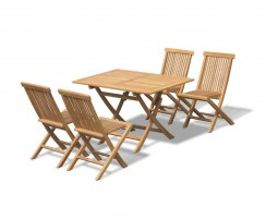 Chester Rectangular Folding Dining Set with 4 Low Back Dining Chairs