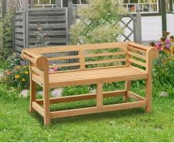 Teak Lutyens-Style Garden Bench, Low Back - 1.35m