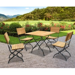 Teak Folding Bistro Square 0.8m Table & 4 Side Chairs