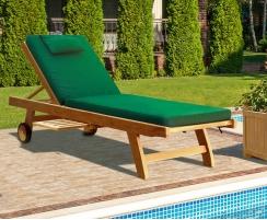 Teak Reclining Sun Lounger with Cushion