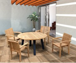 Disk Teak and Steel Round Table 1.3m & 4 Monaco Stacking Chairs