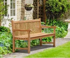 York Teak Garden Bench, Flat Pack - 1.8m