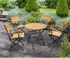 Teak Folding Bistro Round 0.8m Table & 4 Armchairs Dining Set