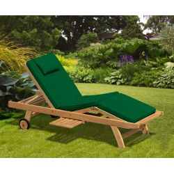 Luxury Sun Lounger with cushion, Teak