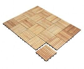 Teak Interlocking Decking Tiles | Wooden Mosaic Garden Decking Tiles