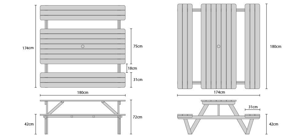 Luxury 6ft Picnic Bench Wood Pub Table Teak 1 8m Product Code Lt152 Width 180 Cm Depth 174 Height 72 Material Grade A Tectona