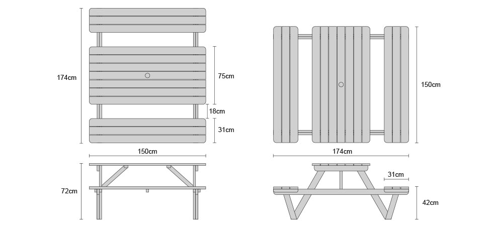 Luxury 5ft Picnic Bench Teak Wooden Pub Bench 1 5m