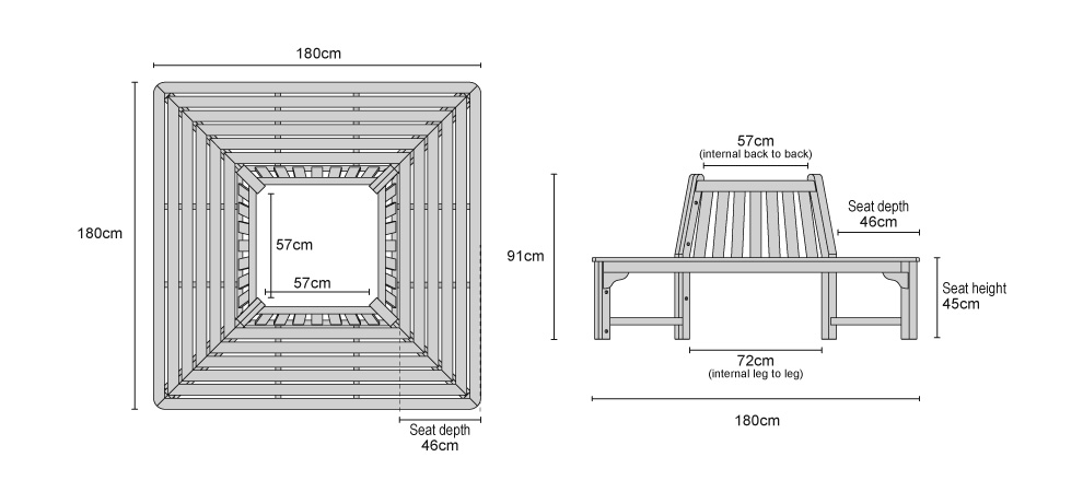 Square Tree Seat Teak Wrap Around Bench 1 8m Product Code Lt419 Width 180 Cm Depth Height 45 Material Grade A Tectona