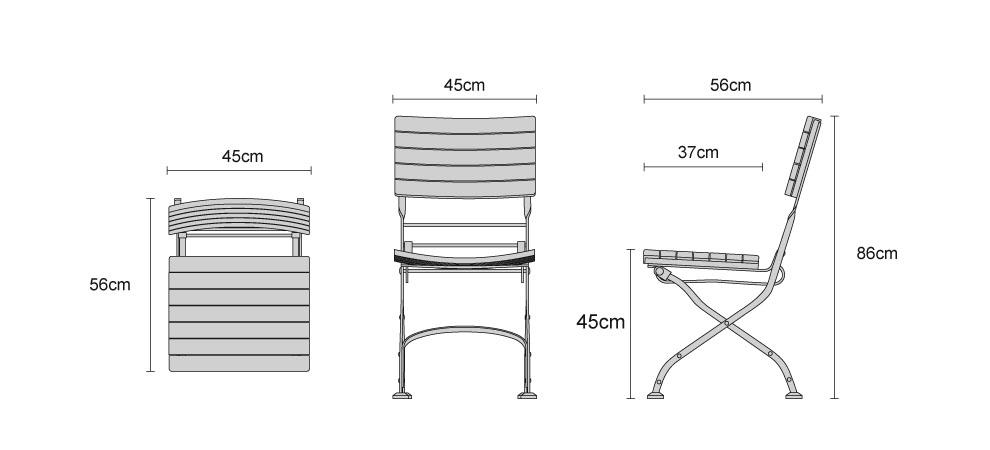 Classic Bistro Chair, Folding Side Chair, Teak, Raven Black Product Code:  LT024 Width: 45 Cm. Depth: 56 Cm. Height: 86 Cm