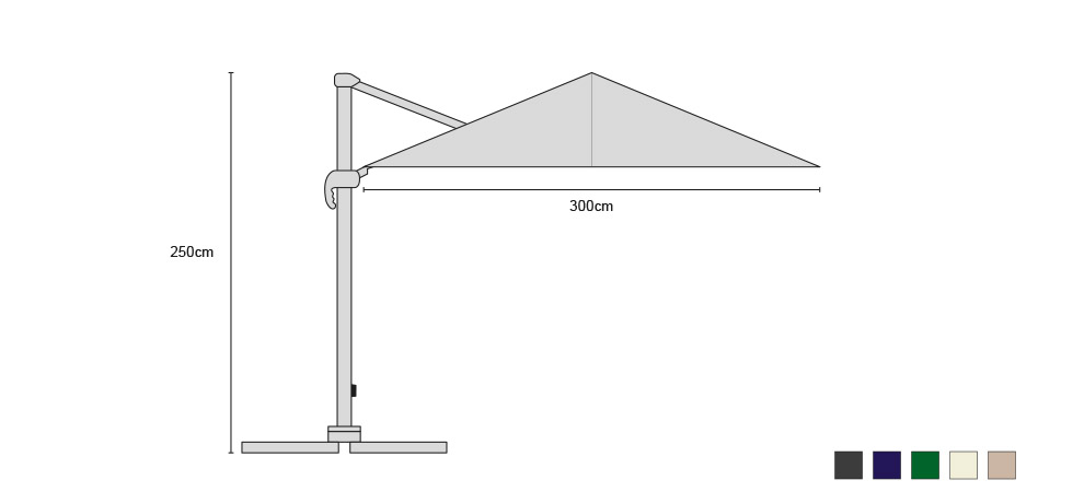 Square 3 x 3m Large Cantilever Parasol with cover – Umbra®