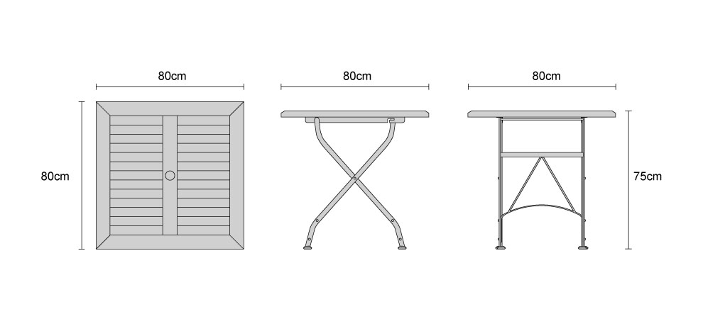 Dining Table For 20 Dimensions: Bistro Square 0.8m Table & 4 Chairs Teak & Metal Folding