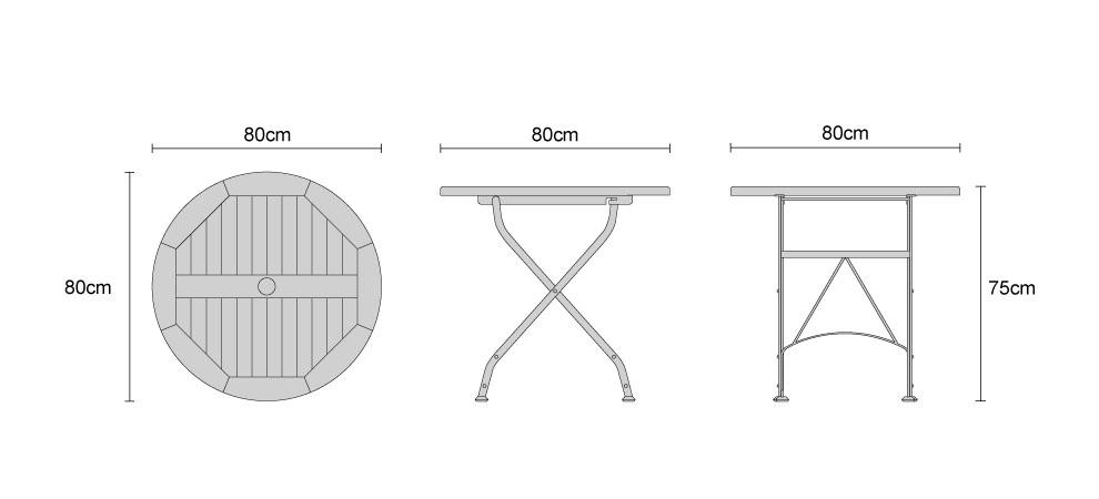 Round Outdoor Bistro Table, Raven Black U2013 0.8m. Product Code: LT180 Width:  80 Cm. Depth: 80 Cm. Height: 75 Cm. Material: Teak U0026 HDG Powder Coated Steel