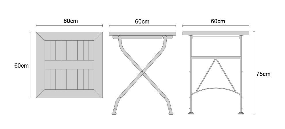 Teak Folding Square Bistro Table, Raven Black U2013 0.6m. Product Code: LT139  Width: 60 Cm. Depth: 60 Cm. Height: 75 Cm. Material: Teak U0026 HDG  Powder Coated ...