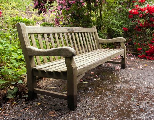 aged teak park bench
