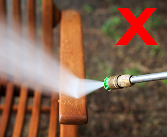 we recommend against pressure washing teak furniture