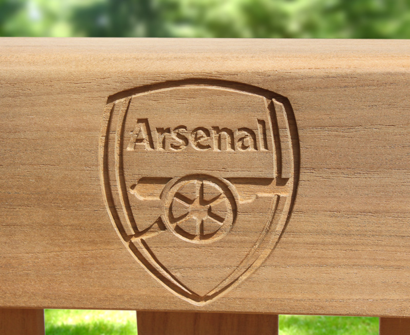 engraved wooden garden bench